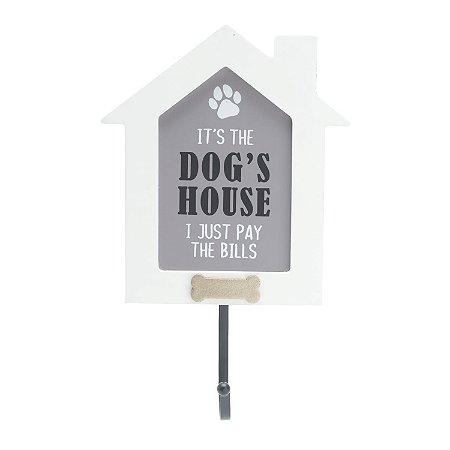 PLACA MADEIRA GANCHO DOGS HOUSE BRANCO