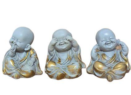Trio de Budas Sabedoria em po de marmore Cinza e Dourado