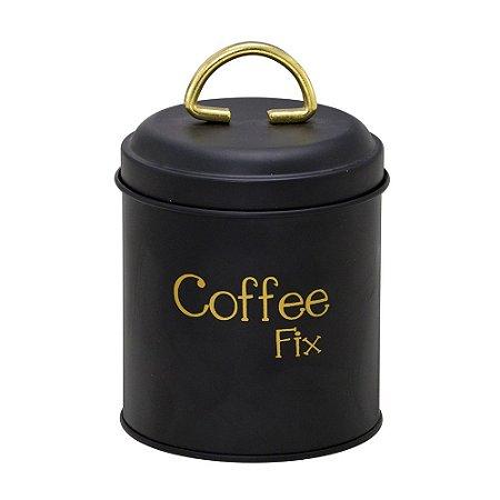 POTE PARA CAFE EM METAL PRETO E DOURADO - COFFEE FIX