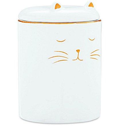Potiche com tampa Gato em Ceramica