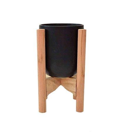 Vaso em Ceramica Preto com Suporte em madeira