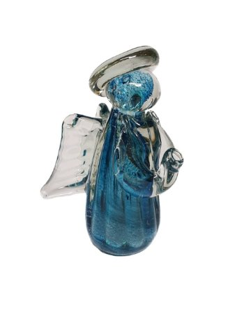 Anjo decorativo em Murano Aquamarine M