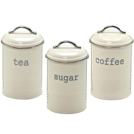 KIT 3 LATAS COM TAMPA ( TEA , COFFEE , SUGAR)