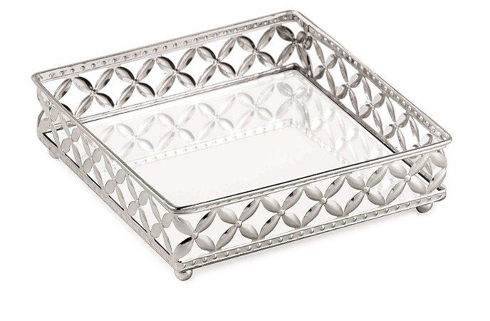 Bandejas espelhadas prata em metal Quadrada M