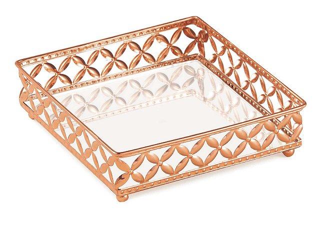 Bandeja espelhada cobre em metal Quadrada P