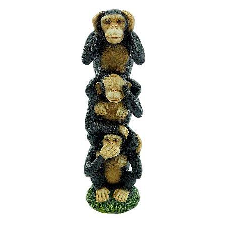 Escultura da Sabedoria de Macacos em Pé Resina G