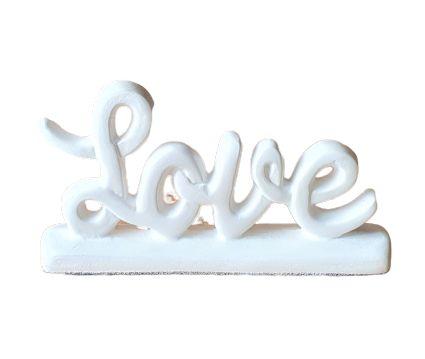 Escultura Mini Love em Ceramica Branco Fosco