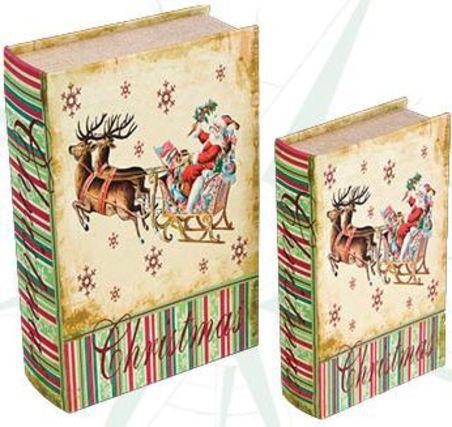 CJ 2 LIVRO CAIXA DE NATAL BOOK BOX TRENO COM RENAS