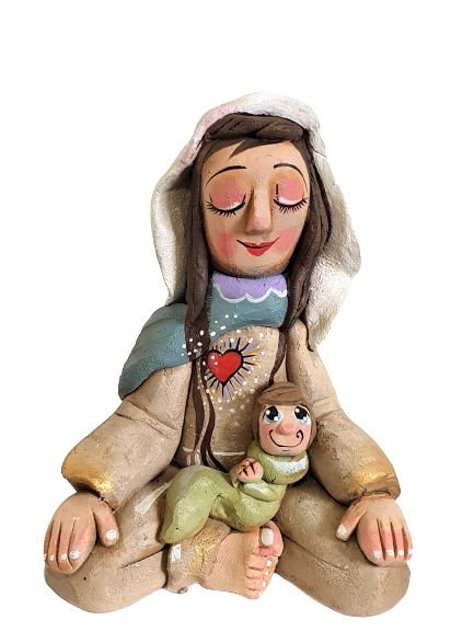 ESCULTURA DE MARIA COM MENINO JESUS ARTESANAL EM CIMENTO G  - PINTADO A MAO