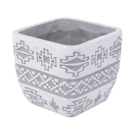 VASO CONCRETO SQUARE AMERICAN TRIBAL NATIVE CINZA
