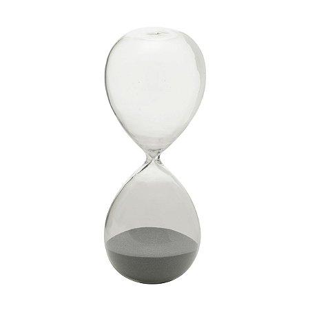AMPULHETA VIDRO CLEAR GLASS PRATA 30 MIN