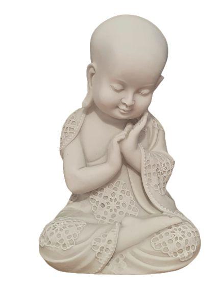 Escultura Monge careca sabedoria em po de marmore