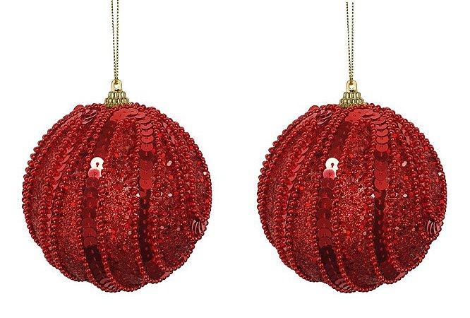 Bola Vermelha C/ Lantejoula e Bolinhas P/ Pendurar 10cm 2 Peças