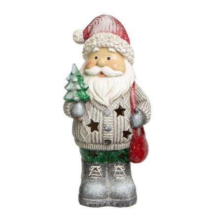 Papai Noel com luz em resina