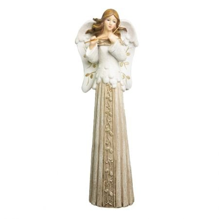 Anjo Decorativa com luz na saia e flauta