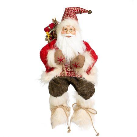 Papai Noel Sentado Lenhador Vermelho e marrom - 45cm