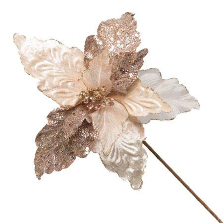 Poinsetia Decorativa Champanhe 60cm
