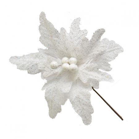 Poinsetia Pick Cherry Branco 32cm