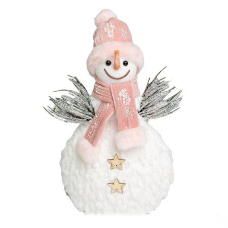 Boneco de Neve Branco e rosa
