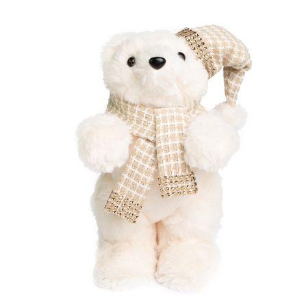 Urso em Pe Snow com gorro e cachecol