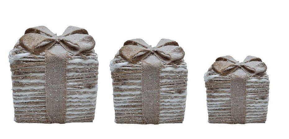 Conjunto 3 Caixas de Presentes Decor Natural