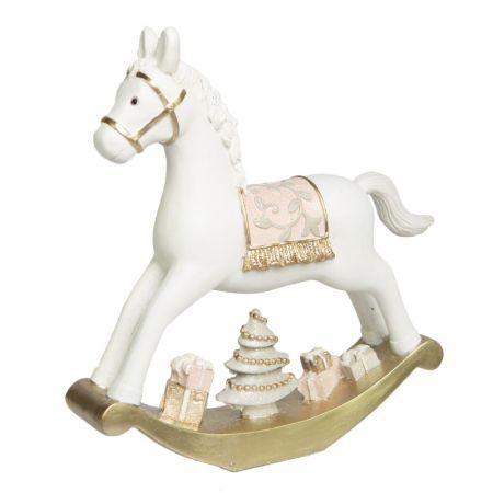 Cavalo Balanco Decor em Resina Branco e Rosa