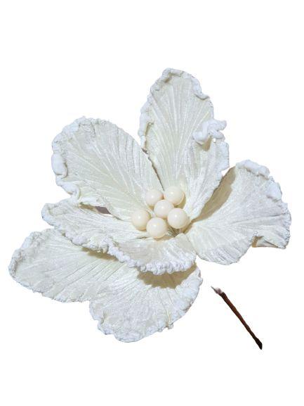 Poinsetia Luxe Off White 45CM