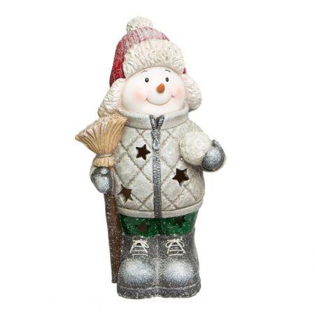 Boneco de Neve Decorativo em Resina Com Iluminacao
