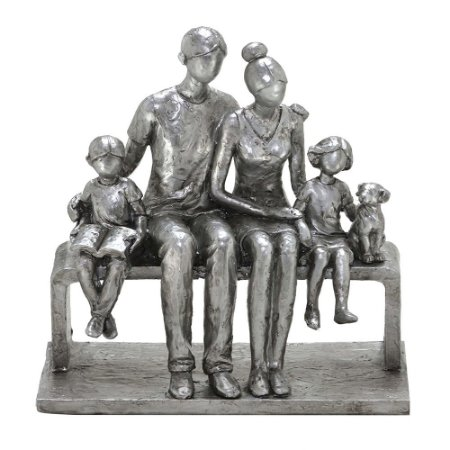 ESCULTURA FAMILIA DECORATIVA EM RESINA PRATA