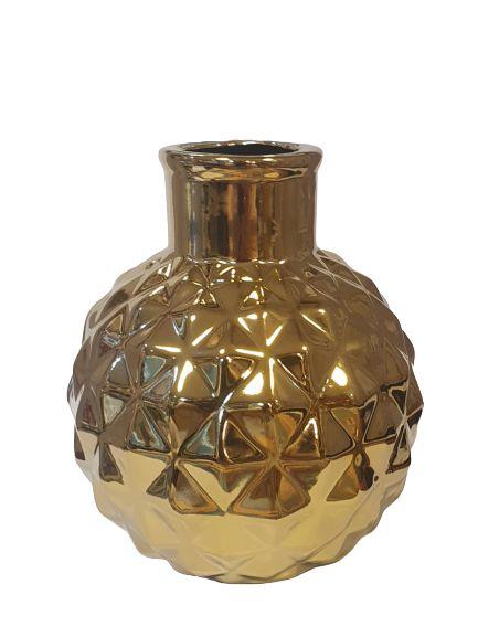 Vaso Decorativo em Ceramica Dourado P