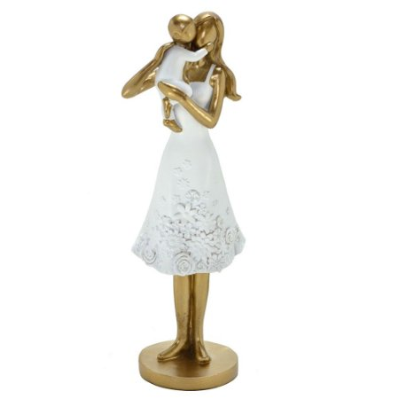 Escultura Mae com Filho Decorativo