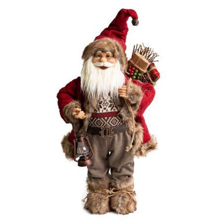 Papai Noel em Pe San Diego com lampião - 60cm