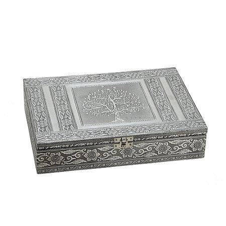 Caixa Decorativa Indiana Prata Arvore da Vida