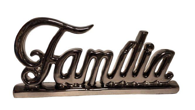 ESCULTURA FAMILIA EM CERAMICA PRATA CHUMBO