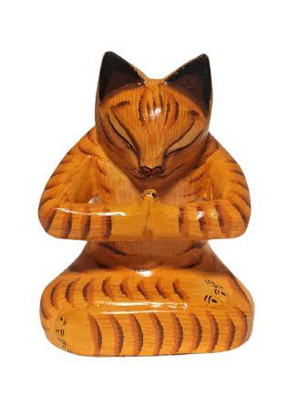 Escultura Gato Yoga em madeira - Bali