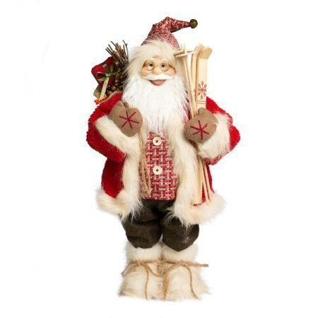 Papai Noel em Pe Lenhador com sacola de presente - 60cm