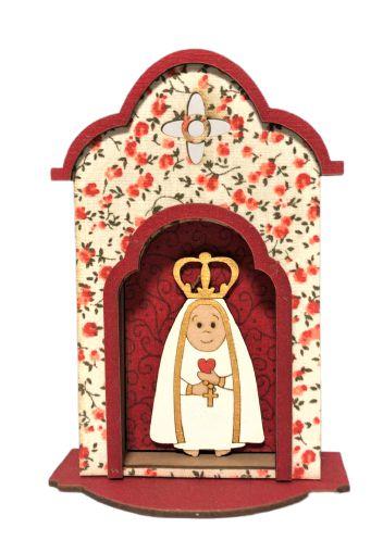 Oratorio em madeira Nossa Senhora de Fatima