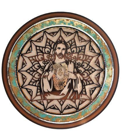 MANDALA SAGRADO CORAÇAO DE JESUS DECOR EM MADEIRA 80CM