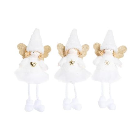 Enfeite p/ pendurar Trio de anjinhos com saia de tule