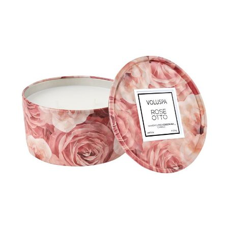 MINI VELA VOLUSPA LATA 2 PAVIOS 25H ROSE OTTO 170g