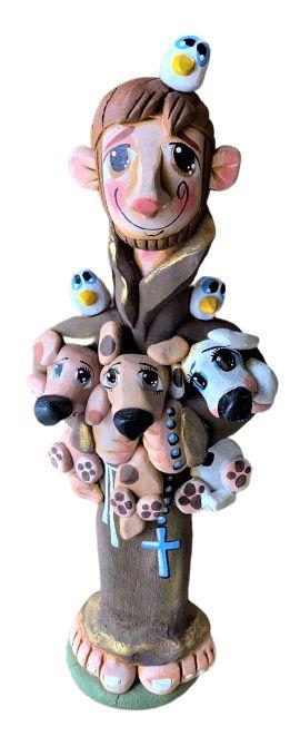 Escultura Sao Francisco com cachorros Cimento Bento