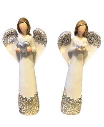 Par de Anjos brancos com coração e Divino