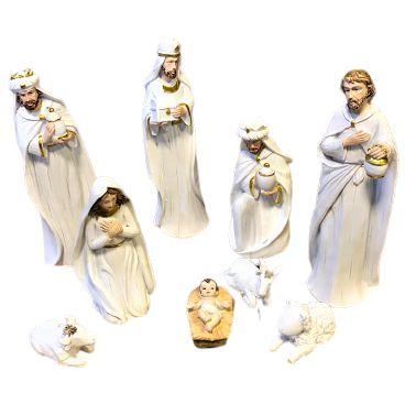 Presepio em Resina branco com 9 peças