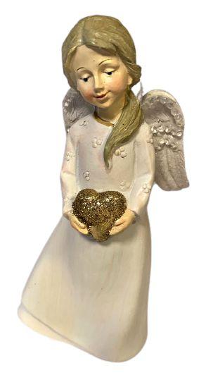 Anjo Rosa em Resina com coracao em maos