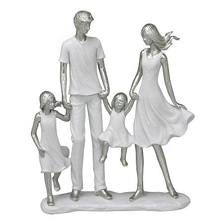 ESCULTURA FAMILIA DECORATIVA COM DUAS MENINAS