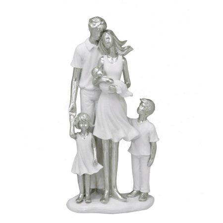 ESCULTURA FAMILIA DECORATIVA COM MENINO MENINA E BEBE