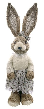 Coelha Decorativa em Palha com vestido florido