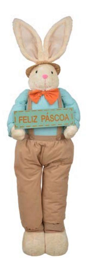 COELHO DE PASCOA EM PE C/PLACA FELIZ PASCOA (AZUL LARANJA) 1,1m
