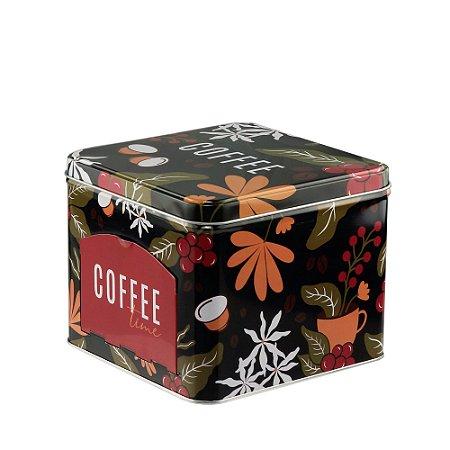 LATA PORTA CAPSULAS DE METAL COFFEE FLOWERS PRETO