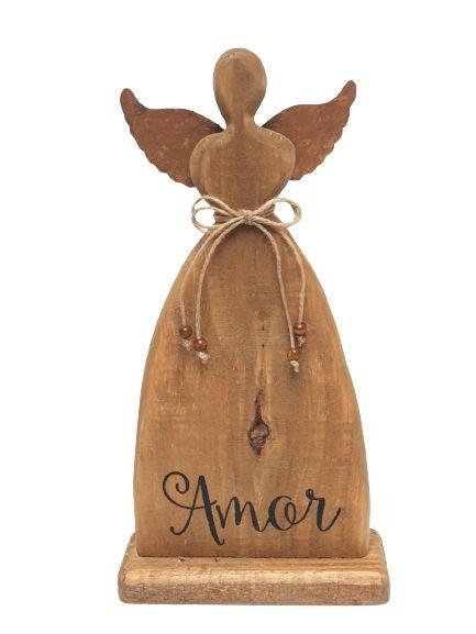 Anjo Decorativo em Madeira e Metal com escrita Amor